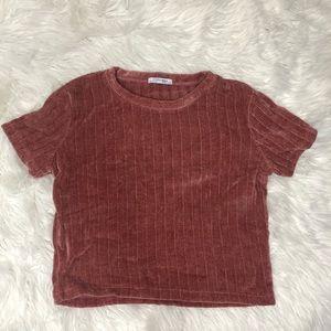 Zara Chenille Rose Pink short sleeve top